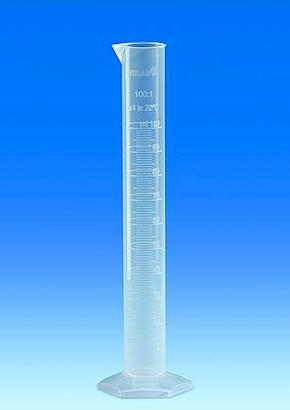 VITLAB® Graduated cylinders PP, Class B tall shape, with a raised scale