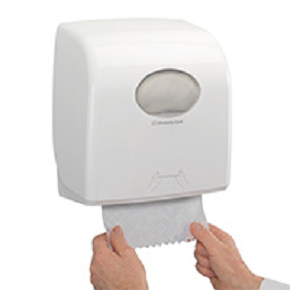 SCOTT® ESSENTIAL Hand Towels - Roll White or Blue & Aquarius towel dispenser
