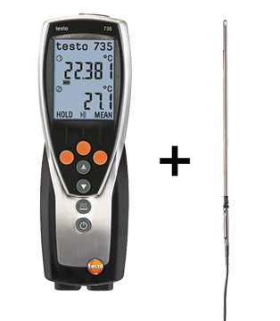 testo 735-2 – Multi-channel Thermometer with optional glass-coated Pt100 immersion/ penetration probe